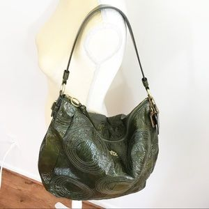 Coach • Patent Leather Olive Green Large Hobo Bag